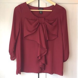 Tops - Burgundy Bow Blouse